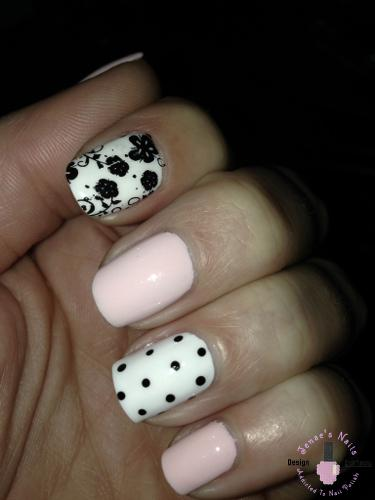 Pink and White Flower Nails