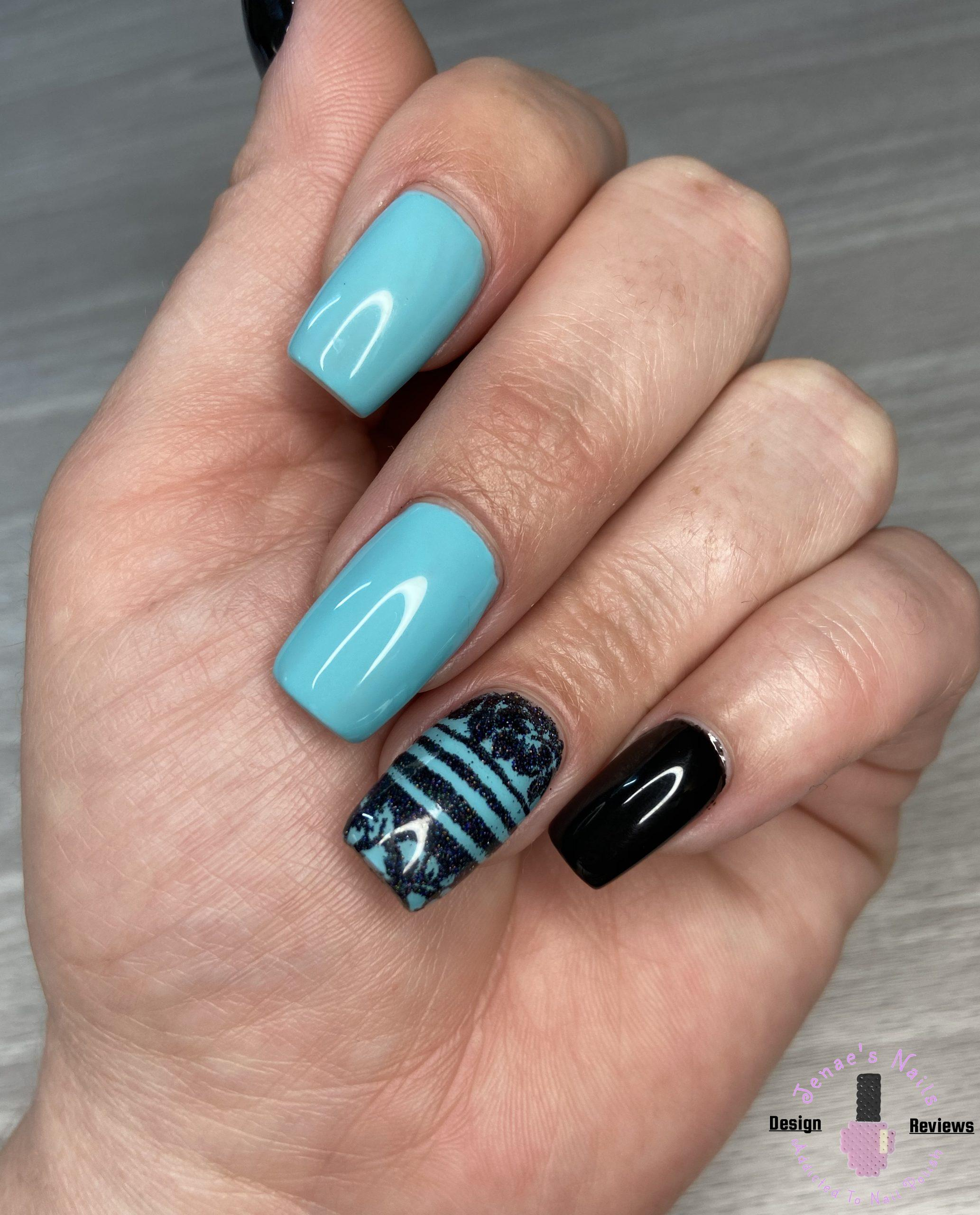 Black and Teal Nails