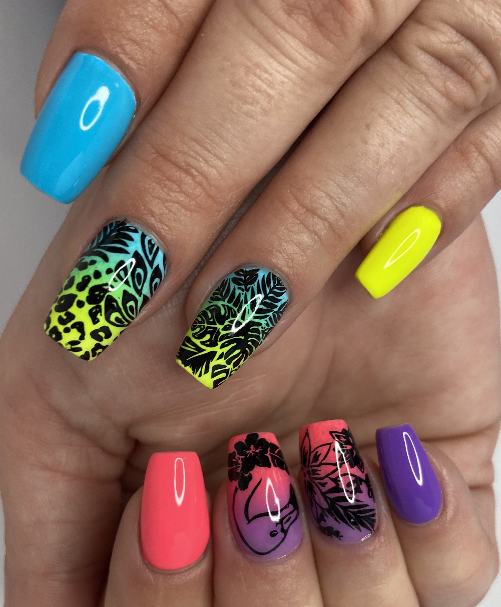 Tropical Neon Ombré Nail Design